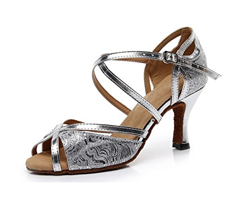 Synthetic Latin Ladies Salsa MINITOO Shoes Printed Sandals Silver Dance Floral 5 Wedding UK xOROqH1