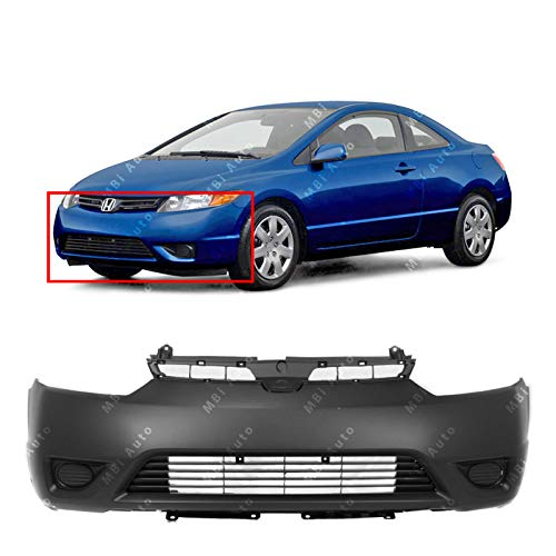 2006 2007 Honda Civic Coupe - MBI AUTO - Primered, Front Bumper Cover for 2006 2007 2008 Honda Civic Coupe, HO1000237