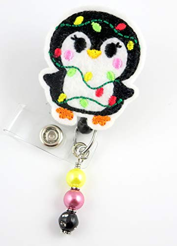 Christmas Penguin- Nurse Badge Reel - Retractable ID Badge Holder - Nurse Badge - Badge Clip - Badge Reels - Pediatric - RN - Name Badge Holder