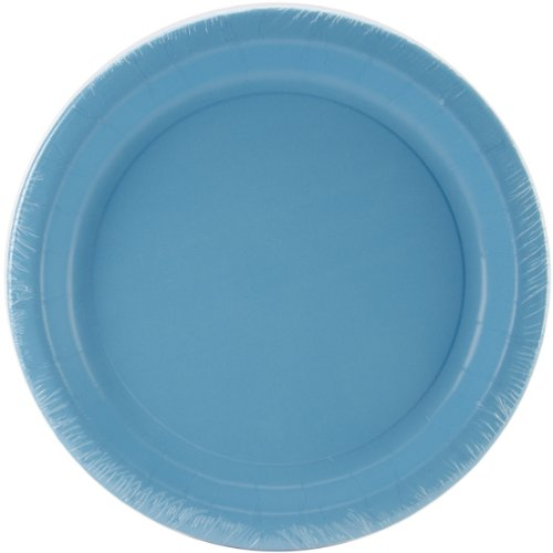 Creative Converting 24 Count Touch of Color Round Paper Dinner Plates, Bermuda (Colored Styrofoam Plates)