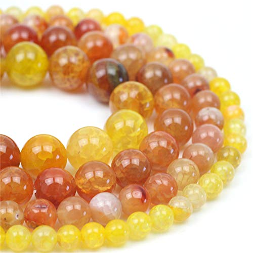 """Oameusa Natural Round Smooth 12mm Red Dragon Agate Beads Gemstone Loose Beads Agate Beads for Jewelry Making 15"""" 1 Strand per Bag-Wholesale"""