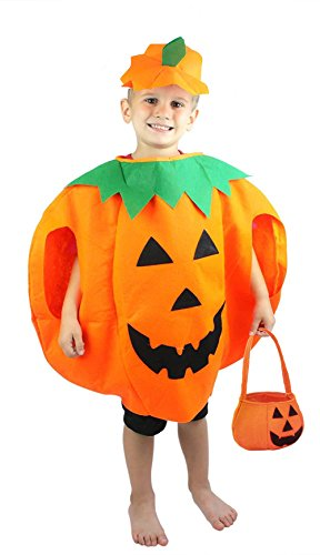 Custom Girls Halloween Costumes (Gamlon Halloween Party Pumpkin Costume for Kids Toddlers 4-8T Girls and Boys)