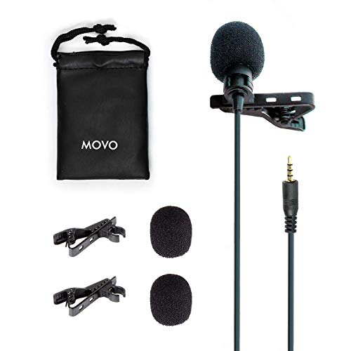 (Movo PM10 Professional Lavalier Lapel Clip-on Omnidirectional Microphone for iOS iPhone, iPad, iPod Touch and Android Samsung Smartphone/Tablet for Recording Podcast, Vlog, Interview, YouTube, ASMR)