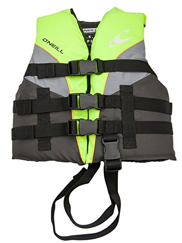O'Neill Superlite Child USCG life vest (30-50 lb) Lime/graphite/smoke (Neoprene Coated Nylon)