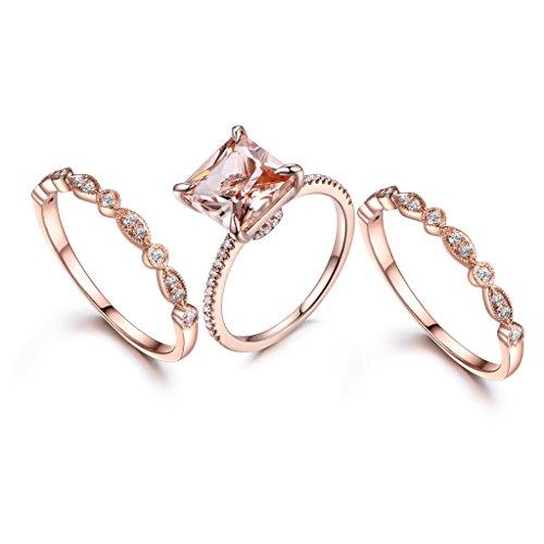 MYRAYGEM-wedding ring sets 3pcs Wedding Ring Set,8mm Princess Cut Pink Morganite 14k Rose Gold Half Eternity Stacking Diamond Band