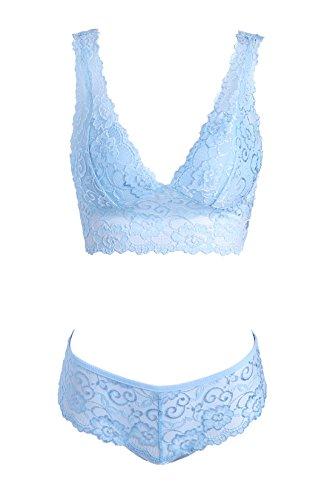 Undies Affair Women's 2 piece sexy wedding lingerie set (Large, Powder Blue) - Blue Lace Thong Panties
