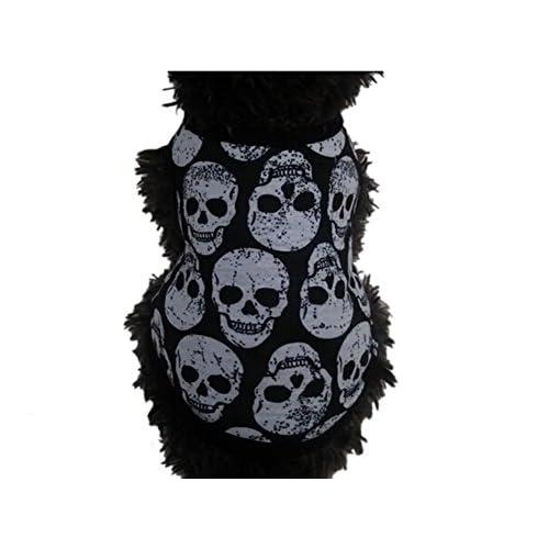 free shipping Zonepets Pets Skull Printing Dog Cat Sleeveless Vest T-shirt Cotton Apparel