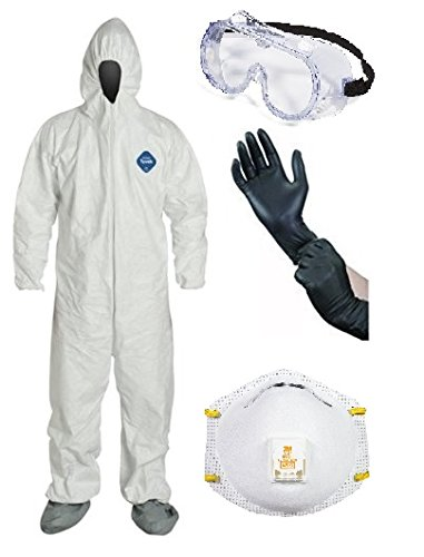 DuPont TY122S Disposable Elastic Wrist Bootie And Hood White Tyvek Coverall Suit 1414 by DuPont (Image #1)