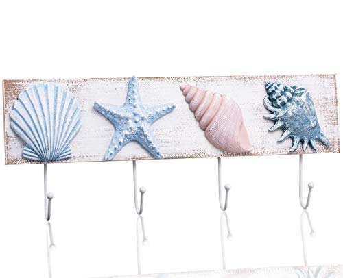 Tide and Tales Beach House Decor Coastal Wall Hooks Towel Rack for Bathroom, Bedroom or Kitchen. 4 Metal Hooks Functional Ocean Theme Starfish and Seashell Decor. Tropical Beach Decorations for ()
