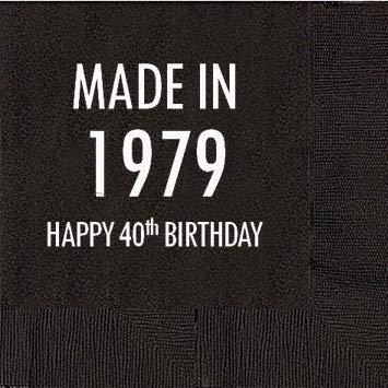 40th Birthday Black Cocktail Napkins - Made in 1979 (50 napkins)