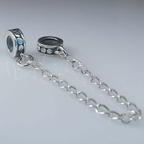 (Circle Clasp Safety Chain Charm 925 Sterling Silver Clip Stopper Charm Spacer Charm for DIY Charms Bracelet (B))