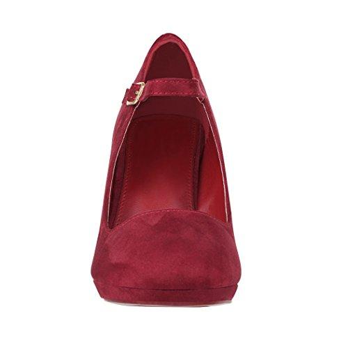 Elara Damen Pumps | Bequeme Riemchen High Heels | Vintage-Style | Abendschuh Trendy | Chunkyrayan Bordeauxrot