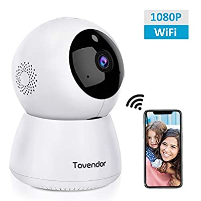 Tovendor IP Camera WiFi 1080P, Pan/Tilt/Zoom Dome Camera, Home Security System with Night Vision, Motion Detection, 2 Way Audio For Surveillance/Elder/Pet/Office/Baby Monitor - Cloud Service from Tovendor
