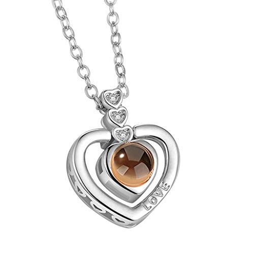 nikunLONG TIK Tok Hot Necklace New 100 Languages I Love You Valentine's Day Present Memory Projection Necklace for Women Silver