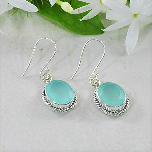 Peruvian Blue Opals - Sivalya 3.00 Ct Oval Natural Blue Peruvian Opal Earrings in 925 Oxidized Sterling Silver, Genuine Gemstone Solid Silver French Hook Dangle Earrings 1.5