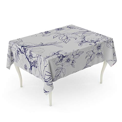 Tarolo Rectangle Tablecloth 52 x 70 Inch Sketch Floral Pattern Blossoming Branch of Wild Rose Pencil Leaf Silhouette Ink Petal Table Cloth
