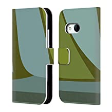 Official Magdalena Hristova Green 6 Clean Lines 3 Leather Book Wallet Case Cover For HTC One M9