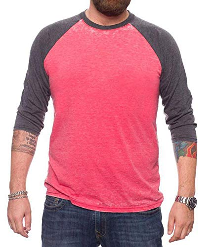 (Jack of all Trades Men's Burnout Crew Neck Raglan 3/4 Sleeve, Red/Black Heather X-Large)