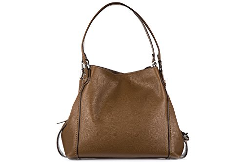 Coach sac à l'épaule femme en cuir edie marron