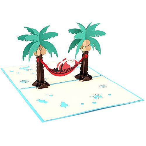 CLSstar Santa Beach Day Pop Up Card, 3D Card, Birthday Card, Greeting Card, Christmas pop up cards - Tree, Palms, Ocean, Beach, Vacation, Calm,Bon Voyage, Fun, Just Because, Retirement