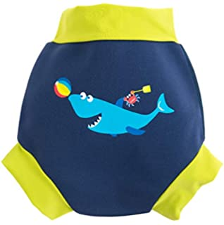 Fish Blue , M// 0-2 Years BabyPreg Baby Kids Swim Nappies Cover Diaper Pants High-Waisted Belly Protection Swimming Shorts