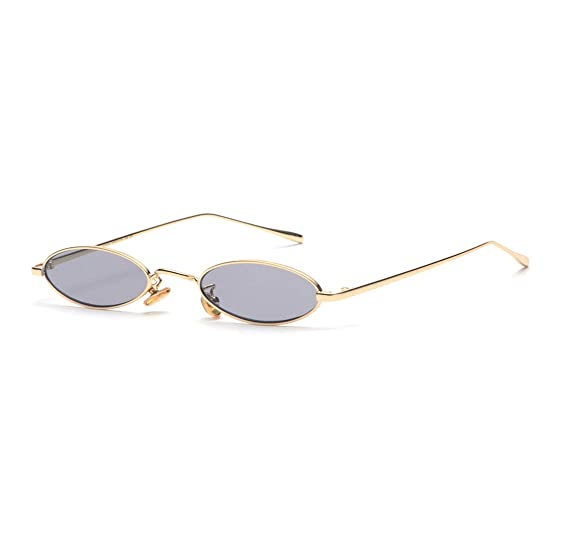 e6cc8eb43c Gamt Vintage Oval Sunglasses for Women and Men Small Metal Frame Candy  Colors Grey