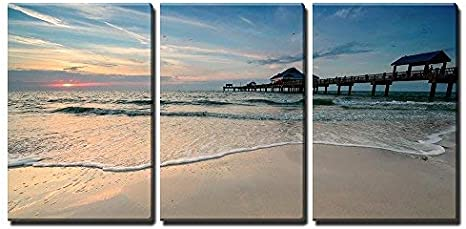 Wall26 3 Piece Canvas Wall Art Sunset Near Pier 60 On A Clearwater Beach Florida Usa Modern Home Art Stretched And Framed Ready To Hang 16 X24 X3 Panels