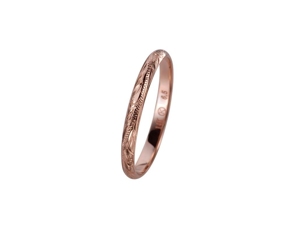 14K solid pink rose gold hand engraved Hawaiian princess scroll band ring 2mm size 8