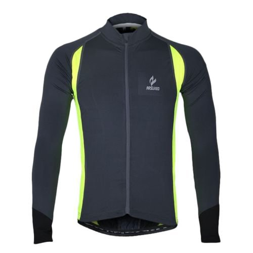 Arsuxeo Long Sleeve Full Zip Cycling Jersey for Men Elastic Quick-drying Perspiration (L, Light Green)