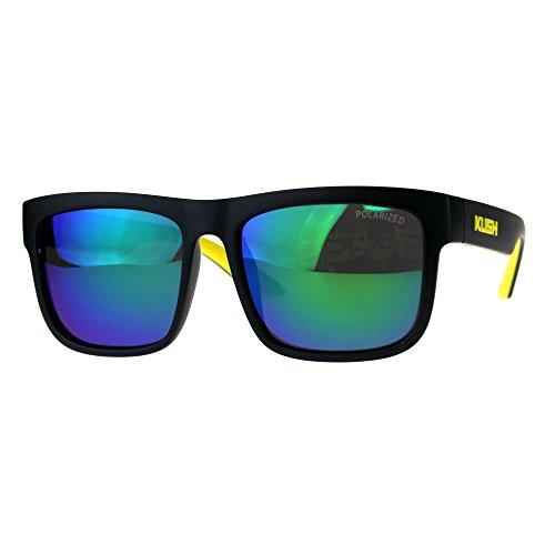 Polarized Premium Kush Color Mirror Lens Horn Rim Sport Sunglasses Black Yellow Teal