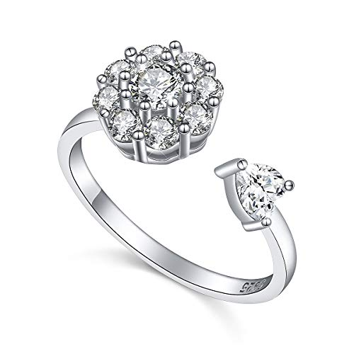 - Fidget Ring for Women Girls Anxiety Ring Spinner S925 Sterling Silver Rings for Teens Worry Band Rings, Fidget Relieving Boredom, ADHD, Autism Size 7