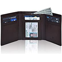 RFID Leather Trifold Wallets for Men- Slim Front Pocket Mens Wallet 6 Credit Card Holder with ID Window