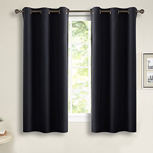 Bedroom Blackout Curtains Window Treatments - PONY DANCE Grommet Top Light Blocking Thermal Insulated Curtain Panels Home Decoration Window Draperies for Living Room, 42 by 54 inches, Black, 1 Pair (Curtain 1)