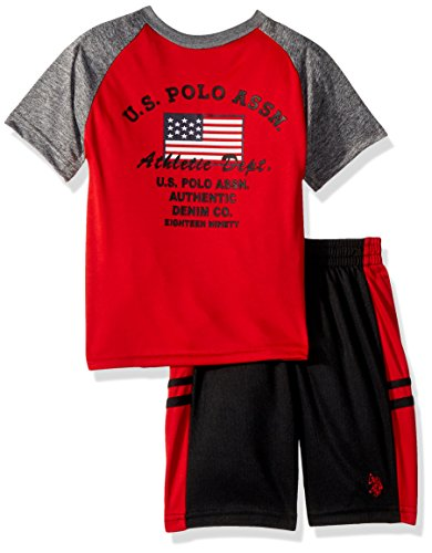 U.S. Polo Assn. Big Boys' T-Shirt, Tank and Mesh Short Set, Athletic Dept Taping Sewn Top Red, 12