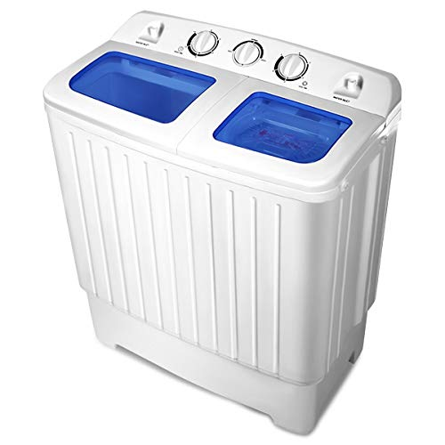 LHONE Portable Mini Compact Washing Machine Twin Tub 11 lbs Washer Spin Spinner Home Laundry Cloths Cloeaners 11lbs Capacity Bathroom -