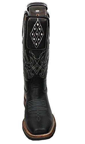 Dona Michi Mens Cowboy In Vera Pelle Di Vacchetta Stivali Rodeo Punta Quadrata Con Cintura Nera