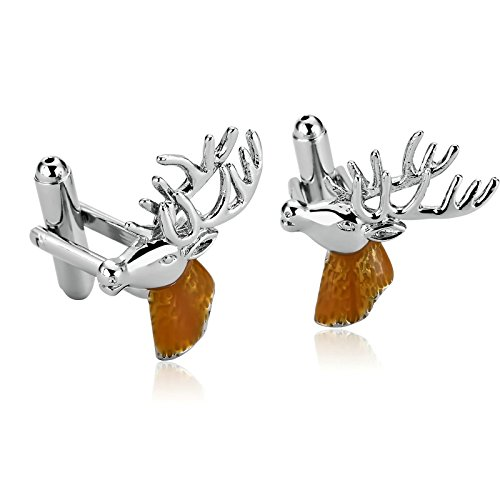 AMDXD Cufflink for Men Silver Gold Deer Head Shirt Cufflinks Cuff Links Mens Stainless 2.3x2.2CM