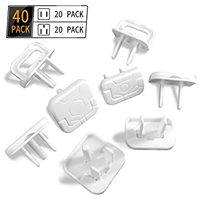 Outlet Plug Covers Baby Proofing - Entyle 40 Pack Improved Safety Electrical Plug Cover Protector with Hidden Pull Handler, Childproof Wall Plug Socket Covers for Home&Office (2 Prong & 3 Prong Mixed)