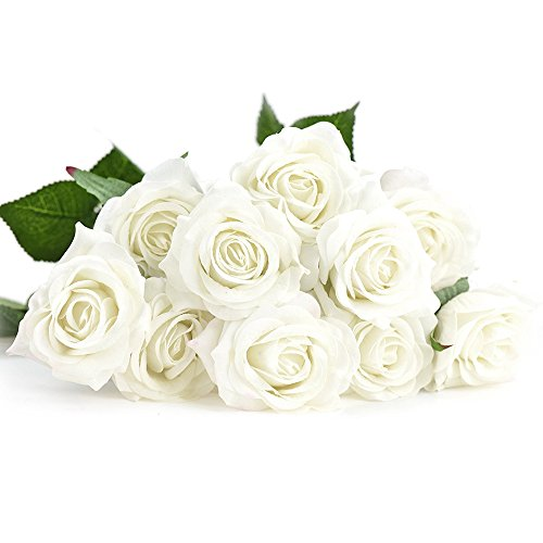 Evoio Artificial Roses Flowers, DIY Bridal Bouquet, Silk Mini Roses Bouquet, Fake Silk Plastic Curl Flowers 10 Heads Office Home Garden Party Wedding Decoration (White)