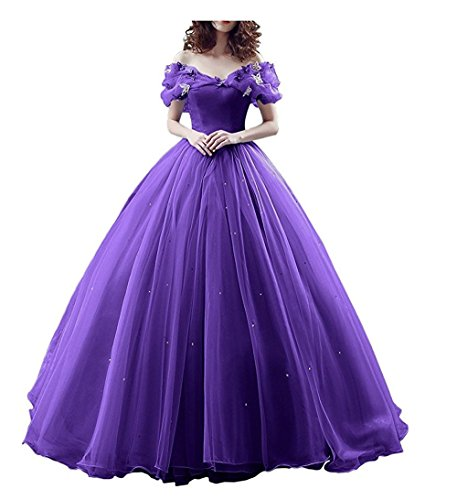 (Chupeng Women's Princess Costume Off Shoulder Prom Gown Wedding Dresses Evening Gown Quinceanera Dress 2019 Purple)