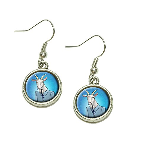 Portrait of a Goat Dangling Drop Charm Earrings