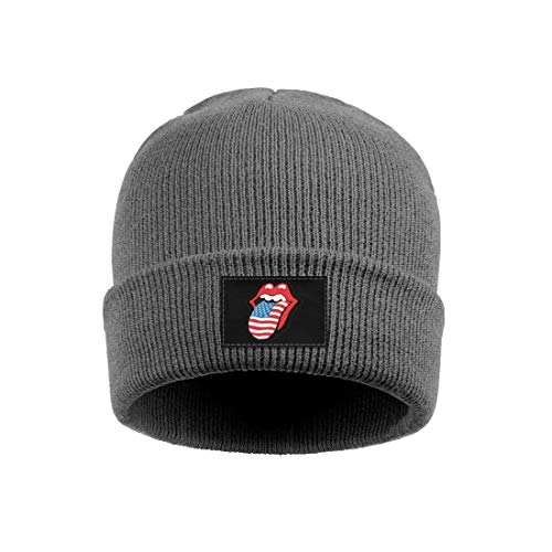 (Rolling Stones USA Mouth Mens Warm Knit Cap Classic Wool Beanie Hats for Womens)
