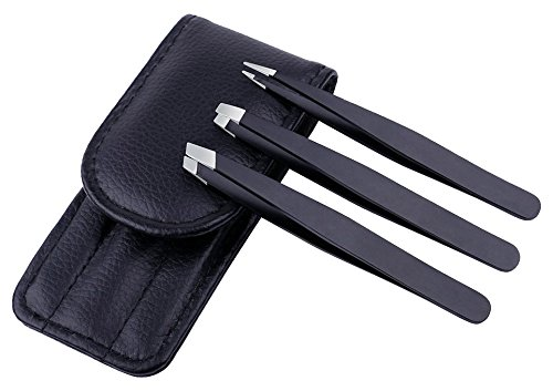 Stainless Steel Tweezer Set, Hair Picker Removal Tweezers for Ingrown Hair with Travel Case(Black&3 Pieces)