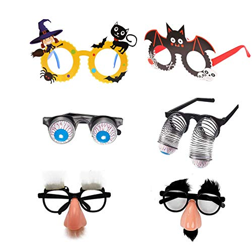 Funny Halloween Photos (6 Pack Halloween Party Eyeglasses Party Glasses Funny Photo Props Dress Up Glasses for Halloween Party Decorations, Masquerade Party)