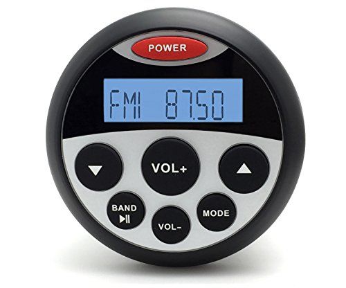 MarineMaxx Waterproof Marine Gauge Radio with USB Audio Bluetooth Stereo Receiver and 1 Pair 3 Inch Waterproof Marine Speakers