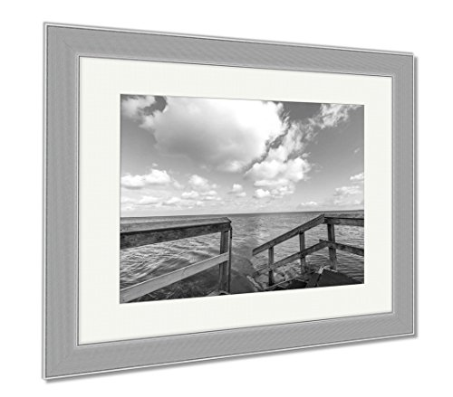 Ashley Framed Prints Marine Jetty Pier With Sea And Beautiful Sky, Wall Art Home Decoration, Black/White, 34x40 (frame size), Silver Frame, - Jetty Road Shops