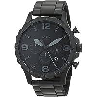 Fossil Men's Nate Quartz Stainless Steel Chronograph Watch, Color: Black (Model: JR1402)