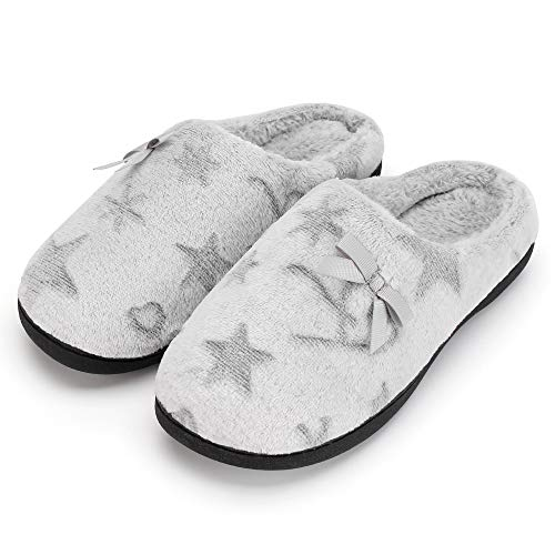 - K KomForme Women Memory Foam Slippers, Cozy Flannel Winter House Shoes with Star Pattern and Anti-Slip Sole