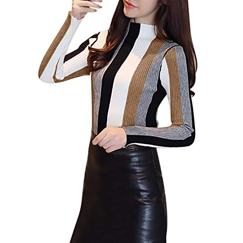 iFOMO Long Sleeve Colorful Stripes Knit Striped Half Turtleneck Sweater for Women(Coffee,S)