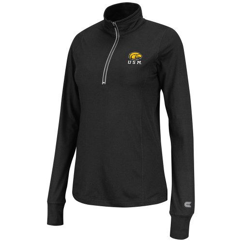 sippi Golden Eagles Women's Pivot 1/2 Zip Jacket, Black, Medium (Southern Mississippi Golden Eagles Jackets)